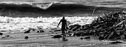 California Big Wave Surf Prints - Entering The Battle Zone Print by Ron Regalado