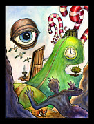 Surrealism Landscape Drawings Prints - Entering the Lucid Dream Print by John Ashton Golden