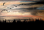 Canadian Geese Mixed Media - Entering Traffic by R Kyllo