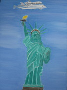 Space Ships Paintings - Enterprise on Statue of Liberty by Vandna Mehta