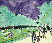 Expressionist Paintings - Entrance to a large garden in Dresden by Ernst Ludwig Kirchner