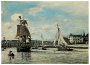 Sailing Ships Framed Prints - Entrance to Honfleur Harbor Framed Print by John Barthold Jongkind