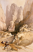 Architectural Landscape Paintings - Entrance to Petra by David Roberts