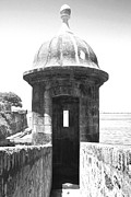El Morro Digital Art - Entrance to Sentry Tower Castillo San Felipe Del Morro Fortress San Juan Puerto Rico BW Film Grain by Shawn OBrien