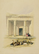 Figures Painting Prints - Entrance to the Caves of Bani Hasan Print by David Roberts