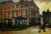 Castle Gates Framed Prints - Entrance to the Dublin Castle. Streets of Dublin. Painting Collection Framed Print by Jenny Rainbow