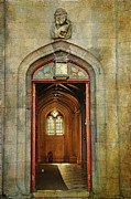 Entrance Door Framed Prints - Entrance to the Gothic Revival Chapel. Streets of Dublin. Painting Collection Framed Print by Jenny Rainbow