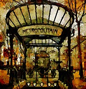 Cities Painting Prints - Entrance to the Paris Metro Print by Dragica  Micki Fortuna