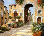 Village Painting Framed Prints - Entrata Al Borgo Framed Print by Guido Borelli