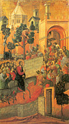 Jerusalem Painting Posters - Entry into Jerusalem Poster by Duccio di Buoninsegna