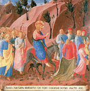 Jerusalem Painting Posters - Entry into Jerusalem Poster by Fra Angelico