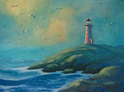 Sea Birds Paintings - Envisioning Peggys Cove Lighthouse by John Malone