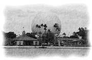 Tourist Attraction Drawings - EPCOT - Pencil by Jenny Hudson