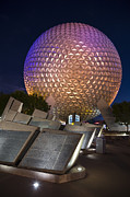 Illuminated Framed Prints - Epcot Spaceship Earth Framed Print by Adam Romanowicz