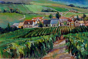 Vines Paintings - Epernay Vineyards by Virginia Dauth