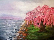 Cherry Blossoms Paintings - Ephemeral Nature by Valorie Cross