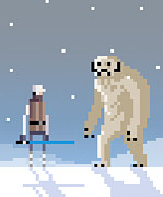 Pixel Digital Art Posters - Epic battle in the snow Poster by Michael Myers