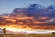 Rocky Mountain Foothills Framed Prints - Epic Colorado Country Sunset Landscape Framed Print by James Bo Insogna
