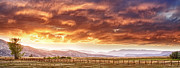 Rocky Mountain Prints Framed Prints - Epic Colorado Country Sunset Landscape Panorama Framed Print by James Bo Insogna