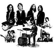 David Drawings Metal Prints - Epic   The Beatles Metal Print by Iconic Images Art Gallery David Pucciarelli