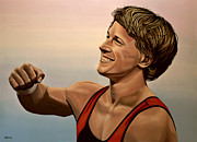 Sport Paintings - Epke Zonderland The Flying Dutchman by Paul Meijering