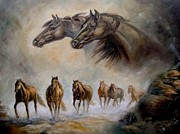 Running Horses Paintings - Equestrian horse painting Distand Thunder by Gina Femrite
