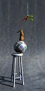 Whimsical Digital Art Posters - Equilibrium II Poster by Cynthia Decker