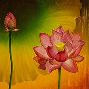 Lotus Bud Paintings - Equilibrium by Yuliya Glavnaya