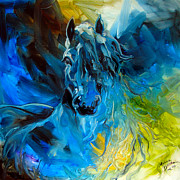 Abstract Horse Paintings - Equus Blue Ghost by Marcia Baldwin