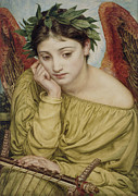 Lady In Water Framed Prints - Erato Muse of Poetry 1870 Framed Print by Sir Edward John Poynter