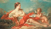 Drapery Framed Prints - Erato  The Muse of Love Poetry Framed Print by Francois Boucher