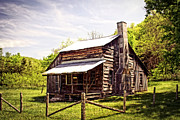 Log Cabin Art Prints - Erbie Homestead Print by Marty Koch