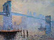 Brooklyn Bridge Paintings - Erbora and the Seagulls by Ylli Haruni