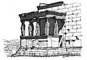 Nike Drawings Originals - Erechtheion Caryatids by Calvin Durham