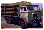 Retro Paintings - ERF CT 561 six-wheeler. by Mike  Jeffries