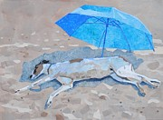 Greyhound Mixed Media Framed Prints - Eric at the Beach Framed Print by Alyson Champ