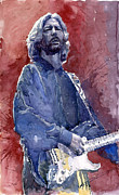 Watercolor Framed Prints - Eric Clapton 04 Framed Print by Yuriy  Shevchuk