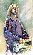 Celebrities Painting Framed Prints - Eric Clapton 05 Framed Print by Yuriy Shevchuk