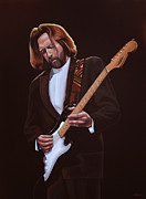 Singer Painting Framed Prints - Eric Clapton Framed Print by Paul  Meijering
