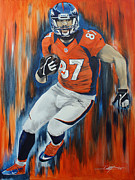 Denver Broncos Drawings Prints - Eric Decker Print by Don Medina