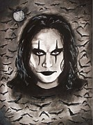 Movie Icon Drawings Posters - Eric Draven -The Crow Poster by Amber Stanford