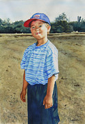Child Playing Baseball Framed Prints - Eric in a Red Cap Framed Print by Heidi E  Nelson