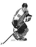 Hockey Drawings Prints - Eric Lindros Print by Harry West