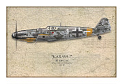 View Digital Art Metal Prints - Erich Hartmann Messerschmitt Bf-109 - Map Background Metal Print by Craig Tinder