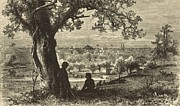 Pennsylvania Drawings - Erie from Federal Hill 1876 Engraving by Antique Engravings