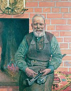 Tools Framed Prints - Erik Erikson The Blacksmith Framed Print by Carl Larsson