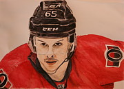 Hockey Painting Prints - Erik Karlsson Print by Betty-Anne McDonald