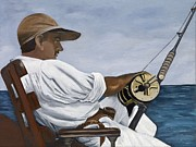 Leather Belt Painting Posters - Ernest Hemingway Fishing Poster by Caroline  Stuhr