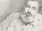 Author Drawings Metal Prints - Ernest Hemingway  Metal Print by Steve  Hockenyos