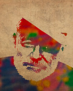Watercolor Portrait. Prints - Ernest Hemingway Watercolor Portrait on Worn Distressed Canvas Print by Design Turnpike